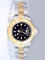 Replique Rolex YACHT-MASTER 18K/SS Black Face Golden Beze