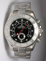 Replique Rolex YACHT-MASTER II Black Dail Silver Bezel Wh
