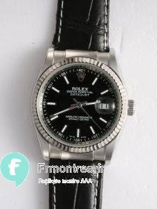 Replique Rolex DATEJUST Black Dial With Bar Hour Markers
