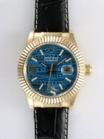 Réplique Rolex Date 18K Gold Blue Dial With blanc Bar And