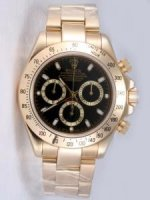 Replique Rolex DAYTONA 18K blanc Gold Black Dail Golden B