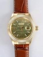 Réplique Rolex Date 18K Gold Green And Yellow Dial With W