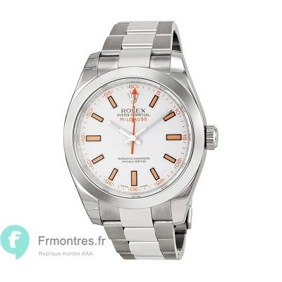 Replique Rolex Milgauss Index cadran blanc montre homme 116400WSO