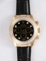 Replique Rolex DAYTONA 18K blanc Gold Black Dail Double R