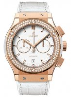 ClassiC Fusion blanc Dial 18 Carat Rose Or with diamants Case blanc Leather Bet Automatique hommes Montre