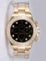 Replique Rolex DAYTONA 18K Black Gold blanc Dail Double R