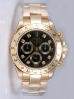 Replique Rolex DAYTONA 18K blanc Gold Black Dail Brown Be