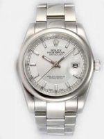 Replique Rolex Date Just blanc Dial With Bar Hour Markers