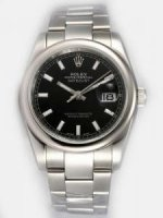 Replique Rolex Date Just Black Dial With Bar Hour Marker