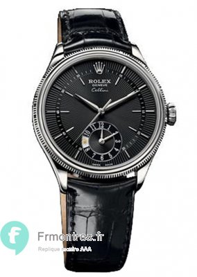 Replique Rolex Cellini Dual Time en or blanc montre 50529 bkbk