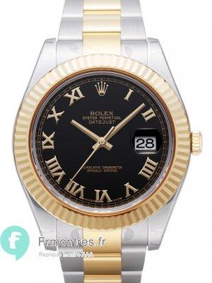 Replique Rolex Datejust II cadran en arabe noir or jaune montre 116333BKAO